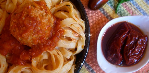 Fiery Fettuccine & Meatballs (with Tomato-Chipotle Sauce)